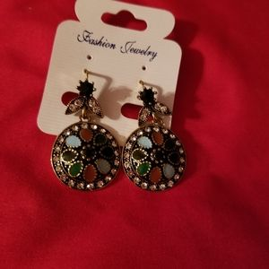 Antique style earrings lever back multicolored sto